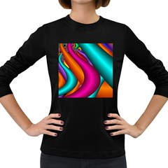 Fractal Wallpaper Color Pipes Women s Long Sleeve Dark T-Shirts