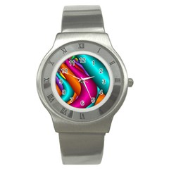 Fractal Wallpaper Color Pipes Stainless Steel Watch