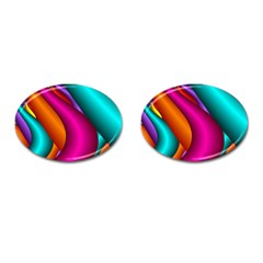 Fractal Wallpaper Color Pipes Cufflinks (Oval)