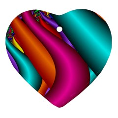 Fractal Wallpaper Color Pipes Heart Ornament (Two Sides)