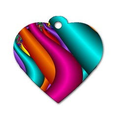 Fractal Wallpaper Color Pipes Dog Tag Heart (two Sides)