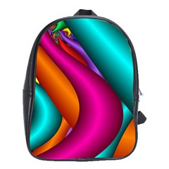Fractal Wallpaper Color Pipes School Bags(Large)