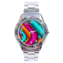 Fractal Wallpaper Color Pipes Stainless Steel Analogue Watch