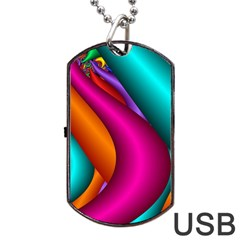 Fractal Wallpaper Color Pipes Dog Tag Usb Flash (two Sides)