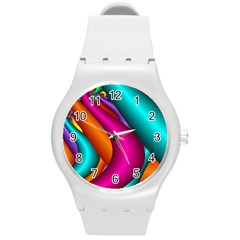 Fractal Wallpaper Color Pipes Round Plastic Sport Watch (m)