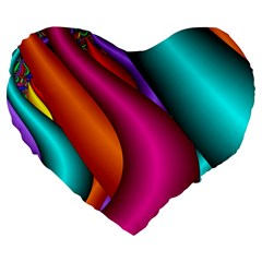 Fractal Wallpaper Color Pipes Large 19  Premium Heart Shape Cushions