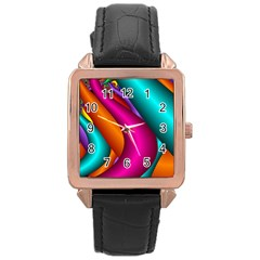 Fractal Wallpaper Color Pipes Rose Gold Leather Watch