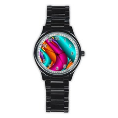 Fractal Wallpaper Color Pipes Stainless Steel Round Watch
