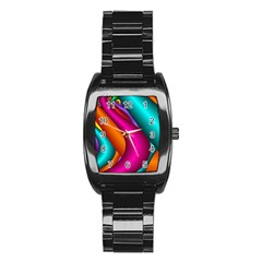 Fractal Wallpaper Color Pipes Stainless Steel Barrel Watch
