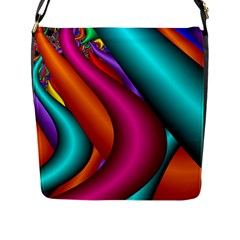 Fractal Wallpaper Color Pipes Flap Messenger Bag (l)