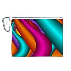 Fractal Wallpaper Color Pipes Canvas Cosmetic Bag (L)