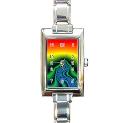 Fractal Wallpaper Water And Fire Rectangle Italian Charm Watch