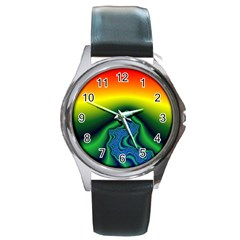 Fractal Wallpaper Water And Fire Round Metal Watch