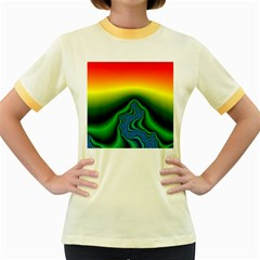 Fractal Wallpaper Water And Fire Women s Fitted Ringer T-Shirts