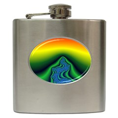 Fractal Wallpaper Water And Fire Hip Flask (6 Oz)