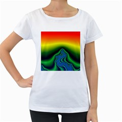 Fractal Wallpaper Water And Fire Women s Loose Fit T Shirt (white)