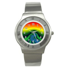 Fractal Wallpaper Water And Fire Stainless Steel Watch