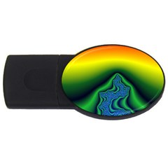 Fractal Wallpaper Water And Fire USB Flash Drive Oval (4 GB)