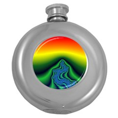Fractal Wallpaper Water And Fire Round Hip Flask (5 Oz)