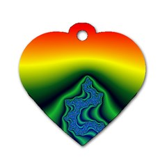 Fractal Wallpaper Water And Fire Dog Tag Heart (one Side)
