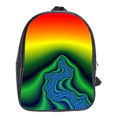 Fractal Wallpaper Water And Fire School Bags(Large)