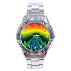 Fractal Wallpaper Water And Fire Stainless Steel Analogue Watch