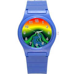 Fractal Wallpaper Water And Fire Round Plastic Sport Watch (s)