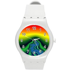 Fractal Wallpaper Water And Fire Round Plastic Sport Watch (m)