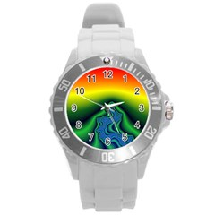 Fractal Wallpaper Water And Fire Round Plastic Sport Watch (L)