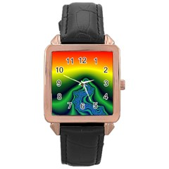 Fractal Wallpaper Water And Fire Rose Gold Leather Watch