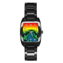 Fractal Wallpaper Water And Fire Stainless Steel Barrel Watch