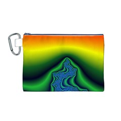 Fractal Wallpaper Water And Fire Canvas Cosmetic Bag (M)