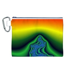 Fractal Wallpaper Water And Fire Canvas Cosmetic Bag (l)