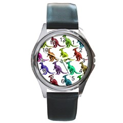 Multicolor Dinosaur Background Round Metal Watch