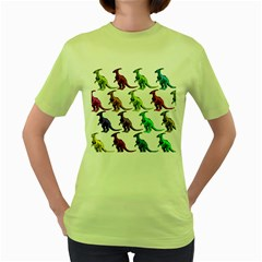 Multicolor Dinosaur Background Women s Green T Shirt