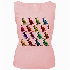Multicolor Dinosaur Background Women s Pink Tank Top