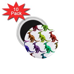 Multicolor Dinosaur Background 1.75  Magnets (10 pack)