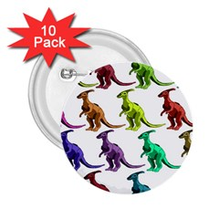 Multicolor Dinosaur Background 2 25  Buttons (10 Pack)