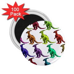 Multicolor Dinosaur Background 2 25  Magnets (100 Pack)