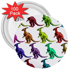 Multicolor Dinosaur Background 3  Buttons (100 Pack)