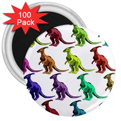Multicolor Dinosaur Background 3  Magnets (100 Pack)