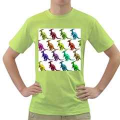 Multicolor Dinosaur Background Green T Shirt