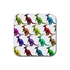 Multicolor Dinosaur Background Rubber Square Coaster (4 pack)