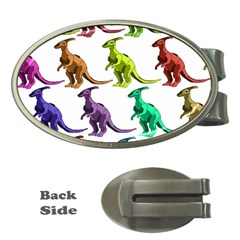 Multicolor Dinosaur Background Money Clips (oval)