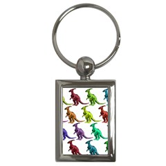 Multicolor Dinosaur Background Key Chains (rectangle)
