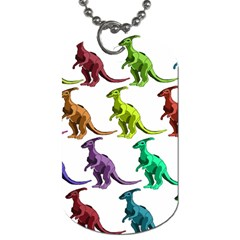 Multicolor Dinosaur Background Dog Tag (two Sides)