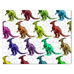 Multicolor Dinosaur Background Rectangular Jigsaw Puzzl