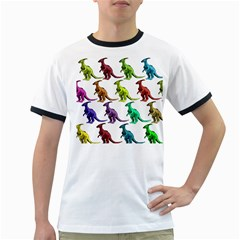 Multicolor Dinosaur Background Ringer T Shirts
