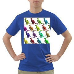 Multicolor Dinosaur Background Dark T-Shirt