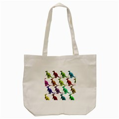 Multicolor Dinosaur Background Tote Bag (cream)